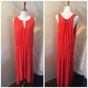 LOFT Orange Summer High Low Summer Maxi Dress XXL